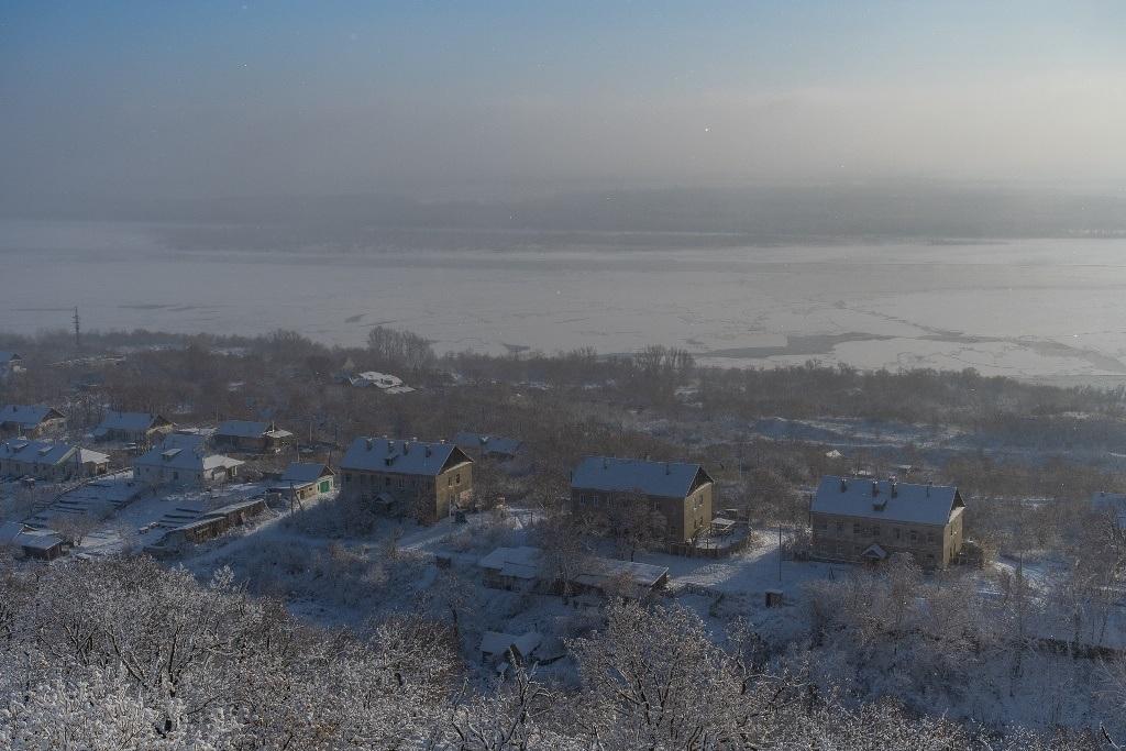 Волга в районе Вольска зимой