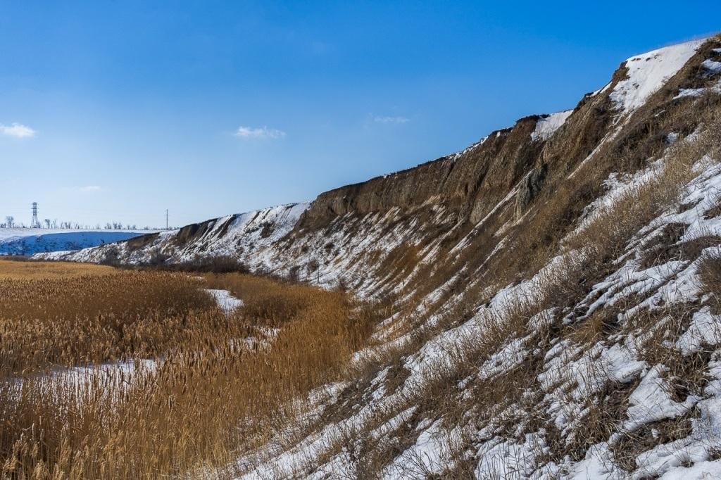 Обрывы глины на реке Мечетка