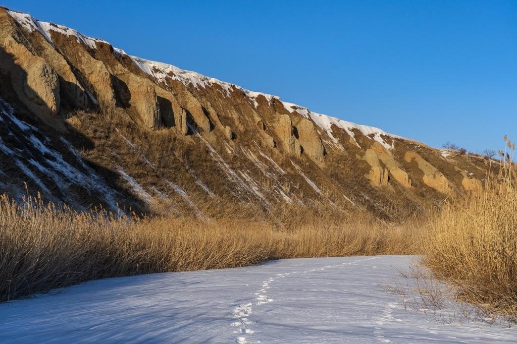 Глиняные обрывы на реке Мечетка