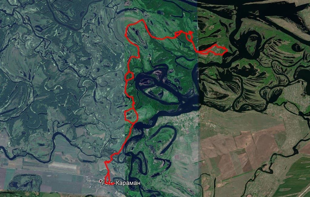 Поход маршрут по Караманской пойме