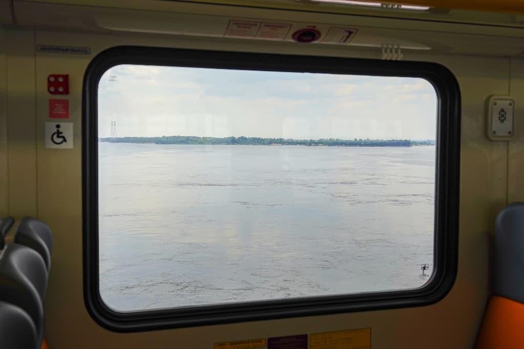 """Рельсовый автобус """"Орлан"""" вид из окна"""