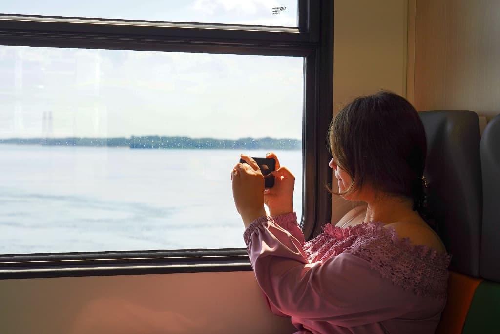 """Вид из окна рельсового автобуса """"Орлан"""""""